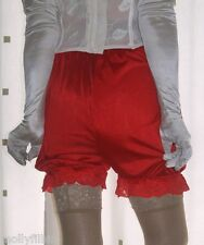 Vintage inspired red silky nylon gusset frilly bloomers knickers panties