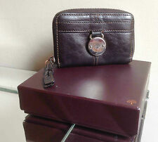 Mulberry Dark Brown Leather Somerset 3/4 Zip-Around Purse+Serial No+Box - FAB!!