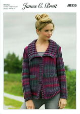 James C Brett Ladies Jacket Marble Chunky Yarn Knitting Pattern JB335