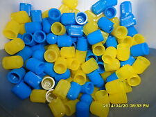 100 Mixed Light Blue & Yellow Dust Caps for Cars, Bikes, ATV, Tractors etc