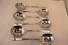 STERLING SILVER,SET OF SIX OLD ENGLISH RAT TAIL SOUP SPOONS, SHEFFIELD 1968.