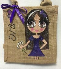 Personalised Little Girl Jute Bridesmaid Mini Handbag Hand Bag Gift Bridesmaid