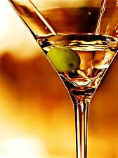 MARTINI CLOSEUP OLIVE DRINK ORANGE COPPER ART PRINT POSTER PICTURE BMP840A