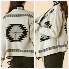 Indian Navajo Boho Fringe open front Sweater Cardigan Tribal Gypsy Bohemian Hm