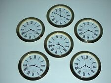 "6 PACK, 2-1/8"" (55MM) PREMIUM QUARTZ CLOCK Insert, Gold Bezel, Metal Case, Roman"