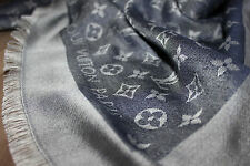 Louis Vuitton Monogram denim azul m71376 pañuelo bufanda scarf estola 100% original