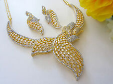 Indian Bridal CZ AD Gold & Silver Bollywood Bridal Necklace Swam Jewelry 290
