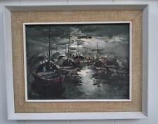 Asian Thailand Vietnam Oil Painting Night Fisherman Boats Framed Rare Vintage