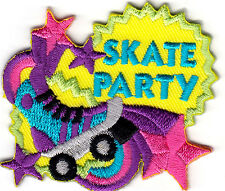 """SKATE PARTY"" -  Iron On Embroidered Patch-Skates, Sports, Words, Roller Skate"