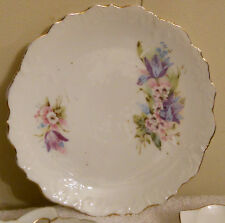 ✿ Bone China Floral Dessert Plate Gold Edge Blue & Purple Transferware no mark
