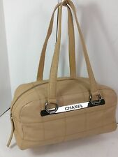 """CHANEL TAN CAVIAR LEATHER  BAG WITH SILVER """"CHANEL"""" BAR"""