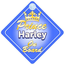 Crown Prince Harley On Board Personalised Baby Boy Car Sign
