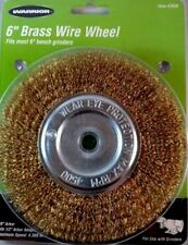 """6"""" Inch Crimped Brass Wire Wheel 5/8"""" Arbor w/ 1/2"""" Adapter For Bench Grinder"""