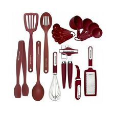 Kitchen Utensil Set 17 Piece Cooking Gadget Tools Black Red Nylon Kitchenaid New