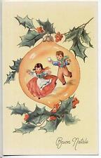 Bambini all'interno di Pallina di Natale Xmas PC Circa 1930 Italy 5