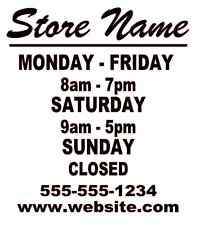 "Business Store Hours Sign Window Shop Open Closed Sticker Decal 10""x9"" VER 3"