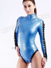 100% Latex Rubber Gummi 0.45mm Catsuit Suit Leotard Zentai Bodysuit Lace up Zip