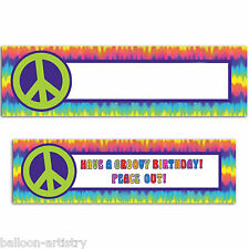 1.65m Feeling Groovy 60's Disco Tie-Dye Party Personalisable Banner Decoration