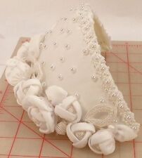 Bridal bonnet headpiece white pearl beads fabric flowers removable comb 201