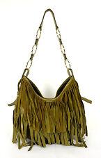 YVES SAINT LAURENT Olive Green Suede & Leather Fringe Hobo Shoulder Bag