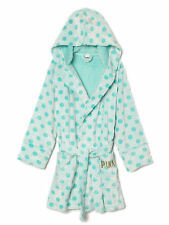 NWT Victoria's Secret PINK Plush Robe XS / S  Supersoft Bathrobe Mint Polka Dot