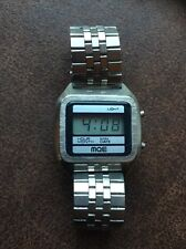 RARE VINTAGE 1980's MQE CRYSTAL DIGITAL LCD BRUSHED CHROME WATCH
