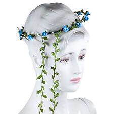 1X Party Floral Flower Festival Forehead Flower Headband Hair Garland Blue White