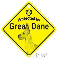 Protected by Great Dane Dog Window Sign Made in USA