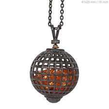 NEW Citrine CAGE Shaker Pendant 14k Gold Diamond Pave 925 Silver Necklace LATEST