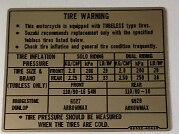 SUZUKI RG250 TYRE CAUTION WARNING DECAL LABEL