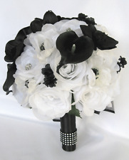 17 pc package Wedding Bouquets Bridal Silk Flower bouquet WHITE BLACK CALLA Lily