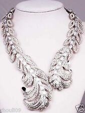 Newest Design huge Lady Statement clear crystal chunky chain charm necklace q957