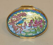 Halcyon Days Enamel Oval Trinket Box Stained Glass Kingfisher Bird & Dragonfly