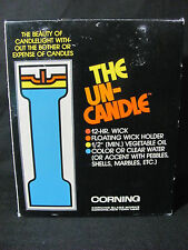 """Corning Boxed Set of 2 Pyrex 7"""" Un-Candle Sticks, 3 Wick Holders & 50 Wicks #122"""