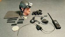"1:6 ZERT Blackops Helmet w/ Quad NVG & Radio Set 12"" GI Joe DAM Soldier Story"