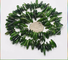 Natural Semi Precious Stone Chrome Diopside Long Chips Beads 10~14mm For DIY