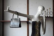 Damen Handtasche schwarzes Leder black real leather 60er True VINTAGE 60s Kudamm