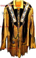 Men Yellow Black Western Cowboy Leather Jacket coat With Fringe Bone and Beads