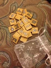 Rune Starter kit. Set of 25 wooden tile Rune stones. pouch. casting sheet.