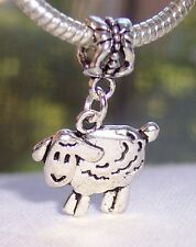 Sheep Lamb Farm Animal Double Sided Dangle Bead fits European Charm Bracelets