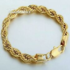 8MM LARGE Heavy 18K GOLD filled Mens Rope Bracelet chain  Gift Son Dad