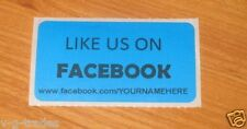 LOT OF 100 BLUE LIKE US ON FACEBOOK CUSTOM YOUR NAME HERE Shipping Stickers 2X1