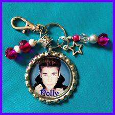 Personalized JUSTIN BIEBER Bottle Cap Pendant Name Necklace Jewelry, Zipper Pull
