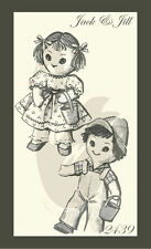 "Reproduction Vintage Jack & Jill Dolls & Clothes Sewing Pattern Approx 13"" Tall"