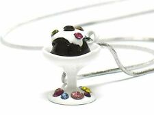 NEW White Gold Plating ICE CREAM/CUPCAKE Enamel Crystal Accents Pendant Necklace