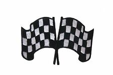 DOUBLE CHECKERED RACING FLAG EMBROIDERED IRON-ON PATCH CREST BADGE .. NEW