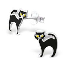 925 Sterling Silver Black Cat Stud Earrings Halloween Gothic Wiccan Tabby Cute