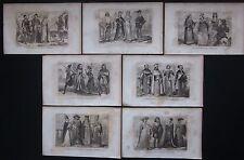 1859 COSTUMI ITALIANI 7 acquaforti Lostalot-Bachoué avvocato militari magistrato