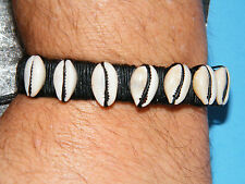 "QUEER AS FOLK Bracelet Black Leather Cuff COWRY Shells Brian Kinney 6""-11"" NEW!"