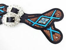 CUSTOM TURQUOISE LEATHER WESTERN HORSE BARREL TRAIL SHOW SPUR STRAPS TACK SET
